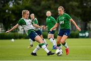 15 September 2021; Katie McCabe, right, and Claire Walsh during a Republic of Ireland training session at the FAI National Training Centre in Abbotstown, Dublin. Photo by Stephen McCarthy/Sportsfile