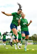 15 September 2021; Niamh Farrelly, left, and Savannah McCarthy during a Republic of Ireland training session at the FAI National Training Centre in Abbotstown, Dublin. Photo by Stephen McCarthy/Sportsfile