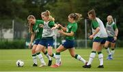 15 September 2021; Aoibheann Clancy is tackled by Kyra Carusa, left, and Katie McCabe during a Republic of Ireland training session at the FAI National Training Centre in Abbotstown, Dublin. Photo by Stephen McCarthy/Sportsfile
