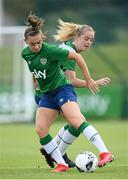 15 September 2021; Katie McCabe is tackled by Claire Walsh, right, during a Republic of Ireland training session at the FAI National Training Centre in Abbotstown, Dublin. Photo by Stephen McCarthy/Sportsfile