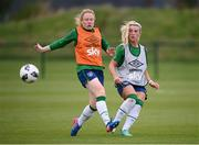 15 September 2021; Savannah McCarthy and Amber Barrett, left, during a Republic of Ireland training session at the FAI National Training Centre in Abbotstown, Dublin. Photo by Stephen McCarthy/Sportsfile
