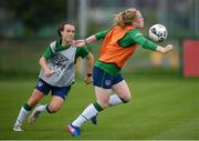 15 September 2021; Amber Barrett and Ciara Grant, left, during a Republic of Ireland training session at the FAI National Training Centre in Abbotstown, Dublin. Photo by Stephen McCarthy/Sportsfile