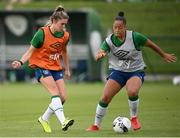 15 September 2021; Jamie Finn, left, and Rianna Jarrett during a Republic of Ireland training session at the FAI National Training Centre in Abbotstown, Dublin. Photo by Stephen McCarthy/Sportsfile