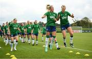15 September 2021; Savannah McCarthy, left, and Ruesha Littlejohn during a Republic of Ireland training session at the FAI National Training Centre in Abbotstown, Dublin. Photo by Stephen McCarthy/Sportsfile