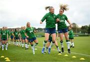 15 September 2021; Louise Quinn and Leanne Kiernan, right, during a Republic of Ireland training session at the FAI National Training Centre in Abbotstown, Dublin. Photo by Stephen McCarthy/Sportsfile