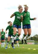15 September 2021; Leanne Kiernan and Saoirse Noonan, right, during a Republic of Ireland training session at the FAI National Training Centre in Abbotstown, Dublin. Photo by Stephen McCarthy/Sportsfile