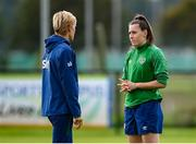 15 September 2021; Lucy Quinn and manager Vera Pauw during a Republic of Ireland training session at the FAI National Training Centre in Abbotstown, Dublin. Photo by Stephen McCarthy/Sportsfile
