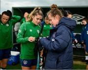 15 September 2021; Sports scientist Kate Keaney and Jamie Finn during a Republic of Ireland training session at the FAI National Training Centre in Abbotstown, Dublin. Photo by Stephen McCarthy/Sportsfile
