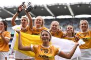 12 September 2021; Becky Ellis of Antrim celebrates with her team-mates after their victory in the All-Ireland Intermediate Camogie Championship Final match between Antrim and Kilkenny at Croke Park in Dublin. Photo by Ben McShane/Sportsfile
