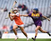 12 September 2021; Eimear Smyth of Armagh and Clodagh Jackman of Wexford during the All-Ireland Premier Junior Camogie Championship Final match between Armagh and Wexford at Croke Park in Dublin. Photo by Ben McShane/Sportsfile