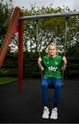 17 September 2021; Claire Walsh poses for a portrait during a Republic of Ireland press conference at the Castleknock Hotel in Dublin. Photo by Stephen McCarthy/Sportsfile