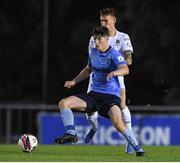 17 September 2021; Colm Whelan of UCD in action against Greg Halford of Waterford during the extra.ie FAI Cup Quarter-Final match between UCD and Waterford at UCD Bowl in Belfield, Dublin. Photo by Matt Browne/Sportsfile