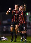17 September 2021; Keith Buckley of Bohemians celebrates after scoring his side's first goal with team-mate Keith Ward, right, during the extra.ie FAI Cup Quarter-Final match between Bohemians and Maynooth University Town at Dalymount Park in Dublin. Photo by Stephen McCarthy/Sportsfile