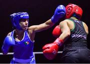 17 September 2021; Sara Haghighat-Jo of St Brigid's Boxing Club in Edenderry, Offaly, left, and Clodagh McComiskey of Gilford Boxing Club, Down, during their 54kg bout during the IABA National Championships Preliminaries at the National Boxing Stadium in Dublin. Photo by Piaras Ó Mídheach/Sportsfile