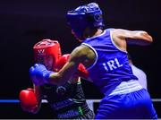 17 September 2021; Clodagh McComiskey of Gilford Boxing Club, Down, left, and Sara Haghighat-Jo of St Brigid's Boxing Club in Edenderry, Offaly, during their 54kg bout during the IABA National Championships Preliminaries at the National Boxing Stadium in Dublin. Photo by Piaras Ó Mídheach/Sportsfile