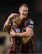 17 September 2021; Keith Ward of Bohemians celebrates with team-mate Ciarán Kelly, right, after scoring their side's third goal during the extra.ie FAI Cup Quarter-Final match between Bohemians and Maynooth University Town at Dalymount Park in Dublin. Photo by Stephen McCarthy/Sportsfile