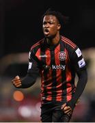 17 September 2021; Roland Idowu of Bohemians celebrates after scoring his side's fourth goal during the extra.ie FAI Cup Quarter-Final match between Bohemians and Maynooth University Town at Dalymount Park in Dublin. Photo by Stephen McCarthy/Sportsfile