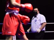 17 September 2021; Referee James McCarron during the 60kg bout between Teo Allen of Cookstown Boxing Club, Tyrone, and Thomas McCann of St Paul's Boxing Club, Antrim, during the IABA National Championships Preliminaries at the National Boxing Stadium in Dublin. Photo by Piaras Ó Mídheach/Sportsfile