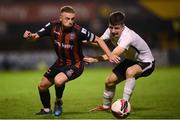 17 September 2021; Keith Ward of Bohemians in action against Alex Fitzgibbon of Maynooth University Town during the extra.ie FAI Cup Quarter-Final match between Bohemians and Maynooth University Town at Dalymount Park in Dublin. Photo by Stephen McCarthy/Sportsfile