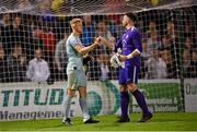 17 September 2021; Bohemians goalkeeper James Talbot and Maynooth University Town goalkeeper David Sterio following the extra.ie FAI Cup Quarter-Final match between Bohemians and Maynooth University Town at Dalymount Park in Dublin. Photo by Stephen McCarthy/Sportsfile