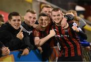 17 September 2021; Robbie Mahon of Bohemians celebrates with supporters following the extra.ie FAI Cup Quarter-Final match between Bohemians and Maynooth University Town at Dalymount Park in Dublin. Photo by Stephen McCarthy/Sportsfile