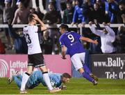 17 September 2021; Sean Boyd of Finn Harps celebrates after scoring his side's third goal during the extra.ie FAI Cup Quarter-Final match between Finn Harps and Dundalk at Finn Park in Ballybofey, Donegal. Photo by Ramsey Cardy/Sportsfile