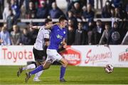 17 September 2021; Sean Boyd of Finn Harps on his way to scoring his side's third goal depite the attempts of Andy Boyle of Dundalk during the extra.ie FAI Cup Quarter-Final match between Finn Harps and Dundalk at Finn Park in Ballybofey, Donegal. Photo by Ramsey Cardy/Sportsfile