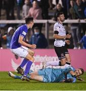 17 September 2021; Sean Boyd of Finn Harps celebrates after scoring his side's third goalpast Dundalk goalkeeper Peter Cherrie during the extra.ie FAI Cup Quarter-Final match between Finn Harps and Dundalk at Finn Park in Ballybofey, Donegal. Photo by Ramsey Cardy/Sportsfile