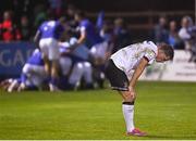 17 September 2021; Daniel Cleary of Dundalk reacts after his side conceded their third goal during the extra.ie FAI Cup Quarter-Final match between Finn Harps and Dundalk at Finn Park in Ballybofey, Donegal. Photo by Ramsey Cardy/Sportsfile
