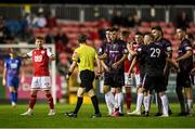 17 September 2021; Wexford players, lead by Karl Fitzsimons, remonstrate a decision from referee Derek Michael Tomney during the extra.ie FAI Cup Quarter-Final match between St Patrick's Athletic and Wexford at Richmond Park in Dublin. Photo by Ben McShane/Sportsfile
