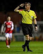 17 September 2021; Referee Derek Michael Tomney during the extra.ie FAI Cup Quarter-Final match between St Patrick's Athletic and Wexford at Richmond Park in Dublin. Photo by Ben McShane/Sportsfile
