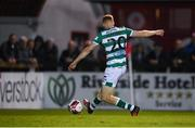 18 September 2021; Rory Gaffney of Shamrock Rovers shoots to score his side's first goal during the SSE Airtricity League Premier Division match between Sligo Rovers and Shamrock Rovers at The Showgrounds in Sligo. Photo by Stephen McCarthy/Sportsfile