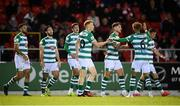18 September 2021; Rory Gaffney, centre, celebrates with his Shamrock Rovers team-mates after scoring his side's first goal during the SSE Airtricity League Premier Division match between Sligo Rovers and Shamrock Rovers at The Showgrounds in Sligo. Photo by Stephen McCarthy/Sportsfile