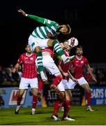 18 September 2021; Barry Cotter of Shamrock Rovers in action against Adam McDonnell of Sligo Rovers during the SSE Airtricity League Premier Division match between Sligo Rovers and Shamrock Rovers at The Showgrounds in Sligo. Photo by Stephen McCarthy/Sportsfile