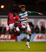 18 September 2021; Walter Figueira of Sligo Rovers in action against Barry Cotter of Shamrock Rovers during the SSE Airtricity League Premier Division match between Sligo Rovers and Shamrock Rovers at The Showgrounds in Sligo. Photo by Stephen McCarthy/Sportsfile