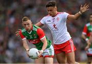 11 September 2021; Ryan O'Donoghue of Mayo in action against Michael McKernan of Tyrone during the GAA Football All-Ireland Senior Championship Final match between Mayo and Tyrone at Croke Park in Dublin. Photo by Ramsey Cardy/Sportsfile
