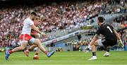 11 September 2021; Bryan Walsh of Mayo under pressure from Tyrone players Pádraig Hampsey, left, and goalkeeper Niall Morgan during the GAA Football All-Ireland Senior Championship Final match between Mayo and Tyrone at Croke Park in Dublin. Photo by Ramsey Cardy/Sportsfile
