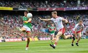 11 September 2021; Tommy Conroy of Mayo in action against Michael O'Neill of Tyrone during the GAA Football All-Ireland Senior Championship Final match between Mayo and Tyrone at Croke Park in Dublin. Photo by Ramsey Cardy/Sportsfile