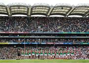 11 September 2021; The Mayo team stand for the National Anthem before the GAA Football All-Ireland Senior Championship Final match between Mayo and Tyrone at Croke Park in Dublin. Photo by Ramsey Cardy/Sportsfile