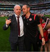 11 September 2021; Tyrone joint-manager Brian Dooher, right, with former Tyrone player Peter Canavan after the GAA Football All-Ireland Senior Championship Final match between Mayo and Tyrone at Croke Park in Dublin. Photo by Ramsey Cardy/Sportsfile