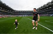 11 September 2021; Tyrone goalkeeper Niall Morgan with his son Criostai after the GAA Football All-Ireland Senior Championship Final match between Mayo and Tyrone at Croke Park in Dublin. Photo by Ramsey Cardy/Sportsfile