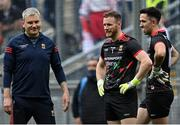11 September 2021; Mayo manager James Horan with his goalkeepers Rob Hennelly and Rory Byrne, right, before the GAA Football All-Ireland Senior Championship Final match between Mayo and Tyrone at Croke Park in Dublin. Photo by Piaras Ó Mídheach/Sportsfile