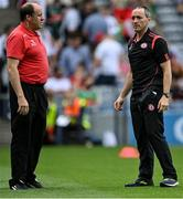 11 September 2021; Tyrone joint-managers Feargal Logan, left, and Brian Dooher before the GAA Football All-Ireland Senior Championship Final match between Mayo and Tyrone at Croke Park in Dublin. Photo by Piaras Ó Mídheach/Sportsfile