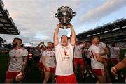 11 September 2021; Kieran McGeary of Tyrone with the Sam Maguire cup after the GAA Football All-Ireland Senior Championship Final match between Mayo and Tyrone at Croke Park in Dublin. Photo by Ramsey Cardy/Sportsfile