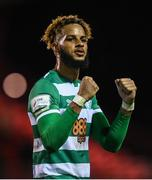 18 September 2021; Barry Cotter of Shamrock Rovers celebrates after his side's victory in the SSE Airtricity League Premier Division match between Sligo Rovers and Shamrock Rovers at The Showgrounds in Sligo. Photo by Stephen McCarthy/Sportsfile