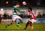 18 September 2021; Dylan Watts of Shamrock Rovers and Walter Figueira of Sligo Rovers during the SSE Airtricity League Premier Division match between Sligo Rovers and Shamrock Rovers at The Showgrounds in Sligo. Photo by Stephen McCarthy/Sportsfile