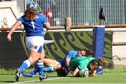 19 September 2021; Beibhinn Parsons of Ireland scores a try during the Rugby World Cup 2022 Europe Qualifying Tournament match between Italy and Ireland at Stadio Sergio Lanfranchi in Parma, Italy. Photo by Roberto Bregani/Sportsfile