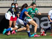19 September 2021; Beibhinn Parsons of Ireland in action against Maria Magatti of Italy during the Rugby World Cup 2022 Europe Qualifying Tournament match between Italy and Ireland at Stadio Sergio Lanfranchi in Parma, Italy. Photo by Roberto Bregani/Sportsfile
