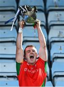 19 September 2021; Rapparees captain Kevin Foley lifts the Dr Bob Bowe Cup after his side's victory in the Wexford Senior County Hurling Championship Final match between St Anne's Rathangan and Rapparees at Chadwicks Wexford Park in Wexford. Photo by Piaras Ó Mídheach/Sportsfile