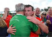 19 September 2021; Rapparees captain Kevin Foley celebrates with supporters after his side's victory in the Wexford Senior County Hurling Championship Final match between St Anne's Rathangan and Rapparees at Chadwicks Wexford Park in Wexford. Photo by Piaras Ó Mídheach/Sportsfile